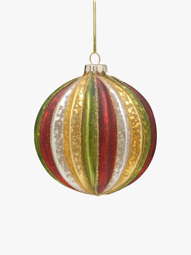 Red Green Stripe Glass Ball