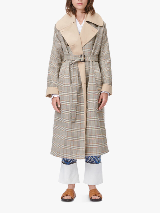 Tail Checked Contrast Collar Trench Coat