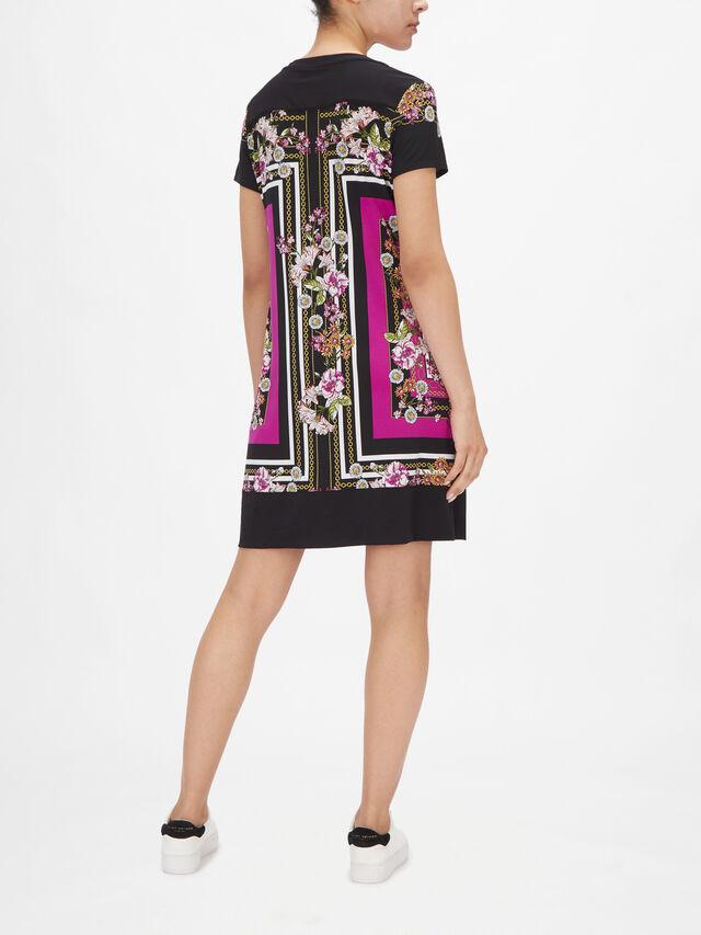 V Neck Short Sleeve Scarf Print Dress