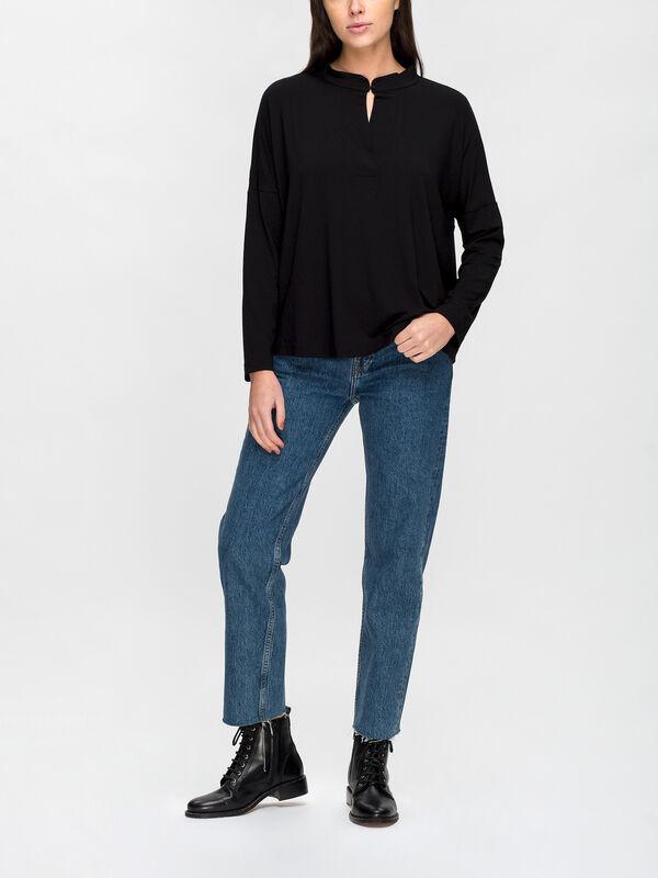 Bianca Mandarin Collar Jersey Top