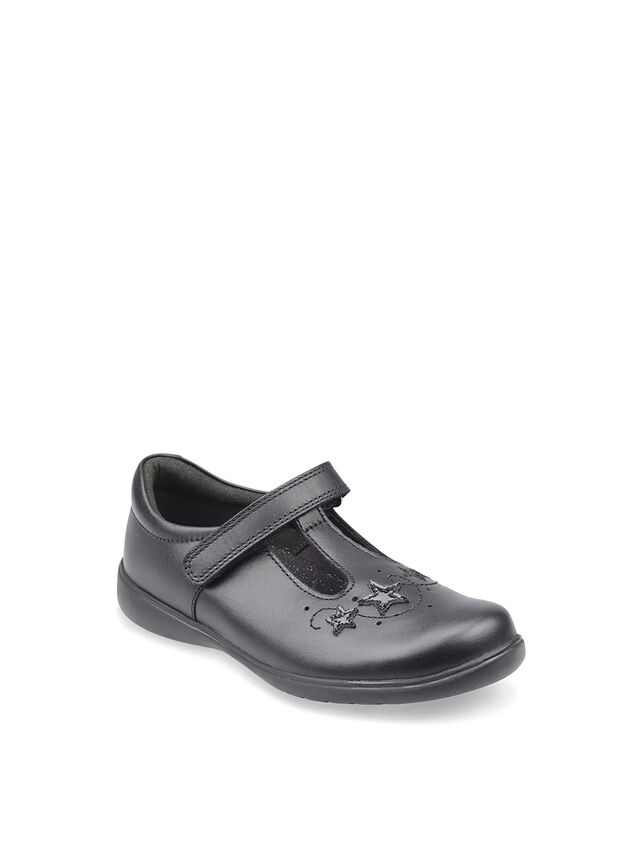 Star Jump Black Leather School Shoes