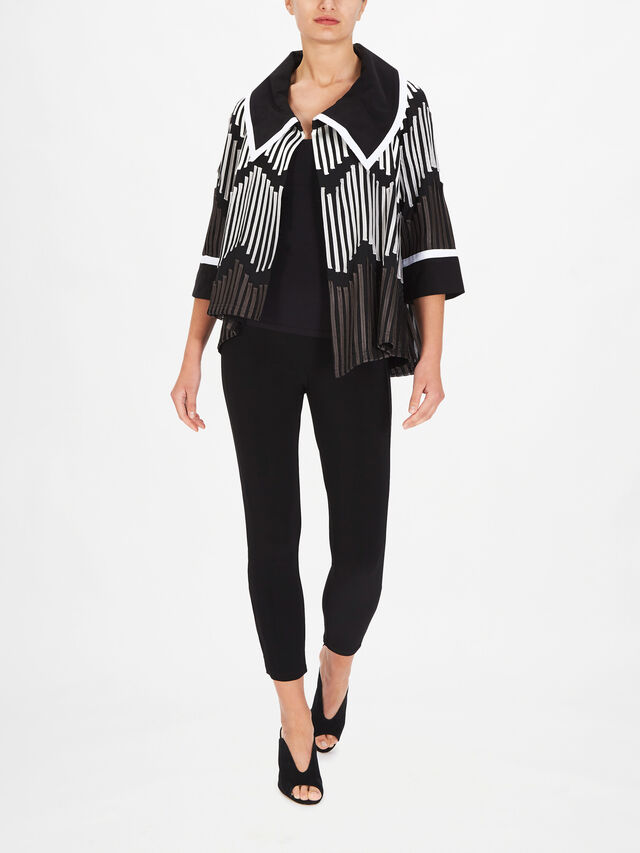 Asymmetric Fold Down Neck Jaquard Jacket