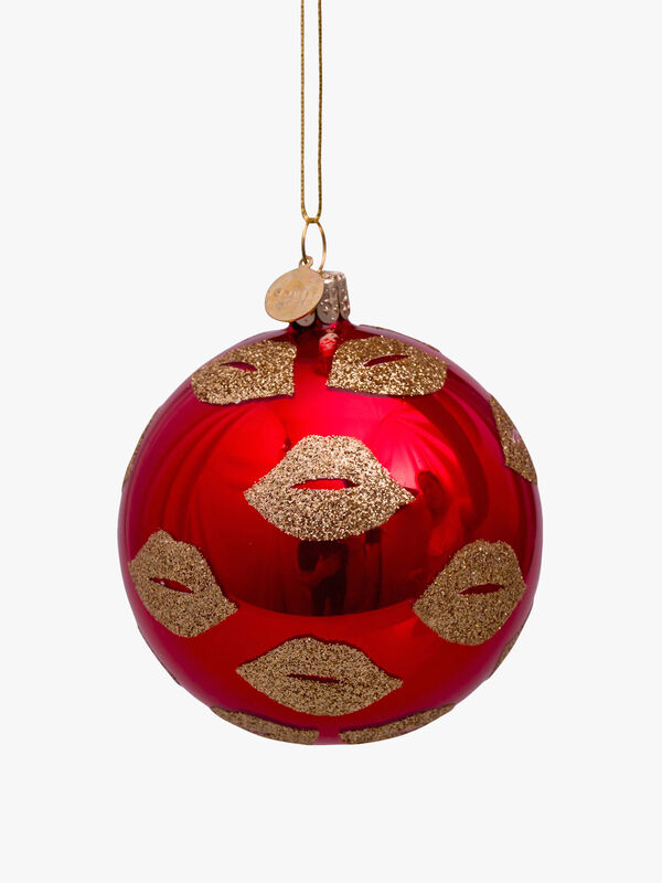 Christmas Bauble With Glittery Lips