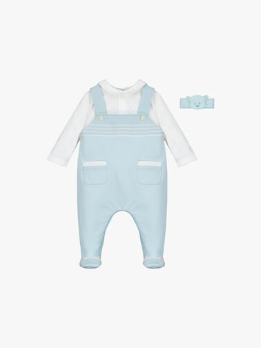 2in1-Dungaree-with-emb-stripes,-shoe-and-Wrist-Rattle-7305pb