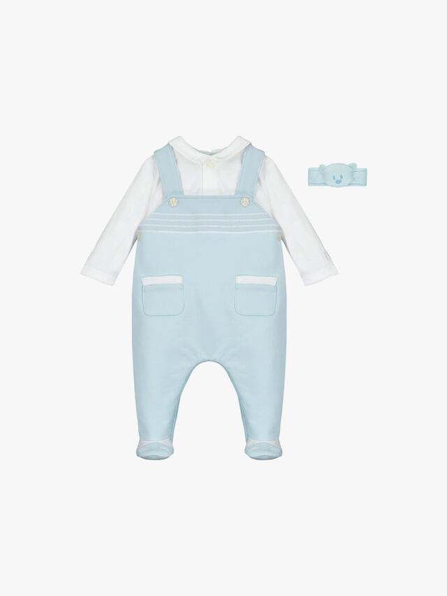 Dungaree With Emb Stripes, Shoe & Wrist Rattle