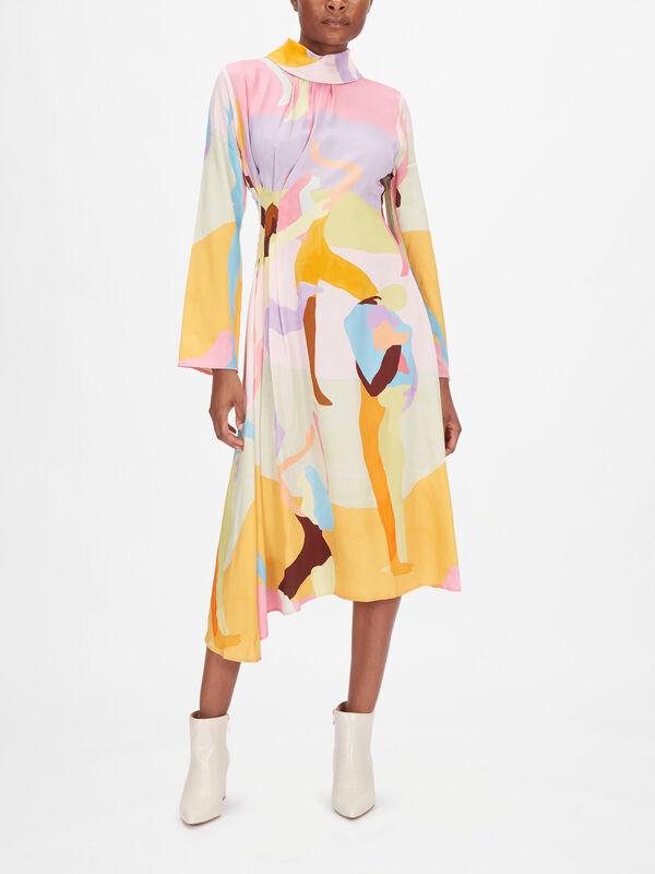 Arlinda Graphic Printed Asymmetric Midi Dress