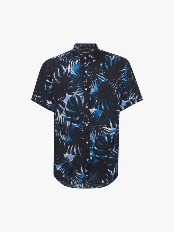 Slim Palm Print Linen Shirt