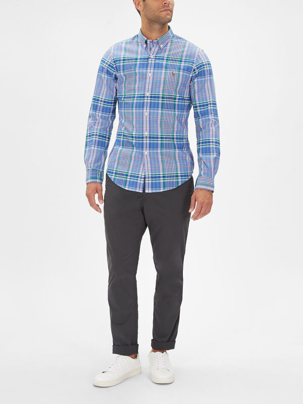 Oxford Check Long Sleeve Slim Fit Shirt
