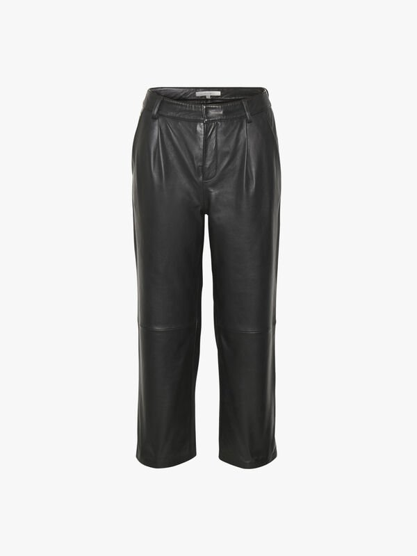 Aliah Straight Leg Leather Trousers