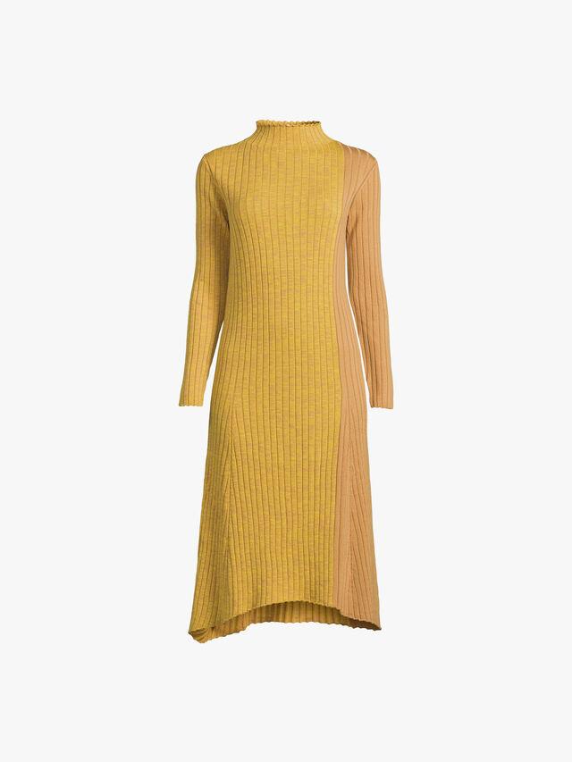 Funnel Neck Dip Hem Dress