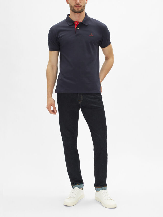 Contrast Collar Piqué Polo Shirt