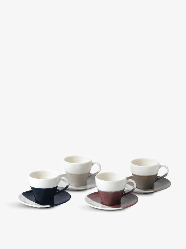 Espresso Cup & Saucer Mixed Set of 4