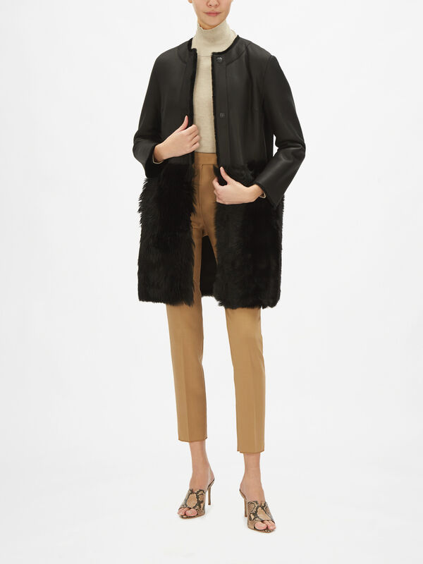 Roland Collarless Shearling Coat