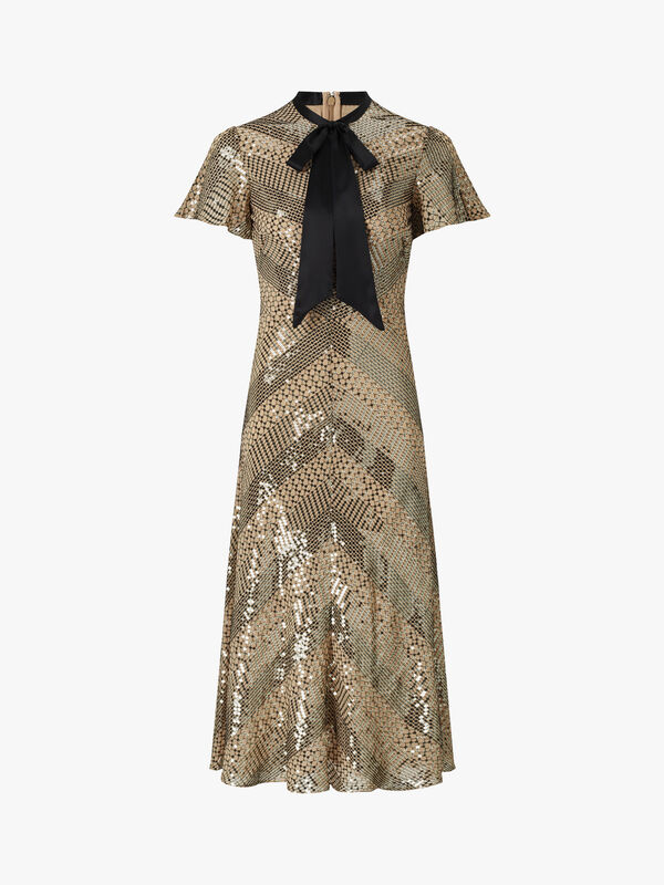 Platinum Sequin Embroidery Midi Dress