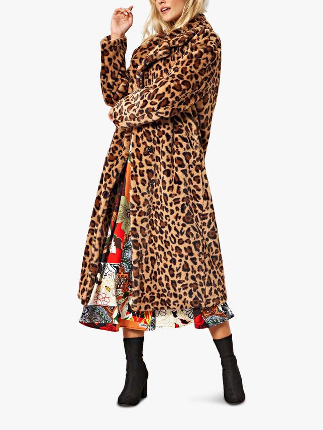 Leopard Print Faux Fur Coat