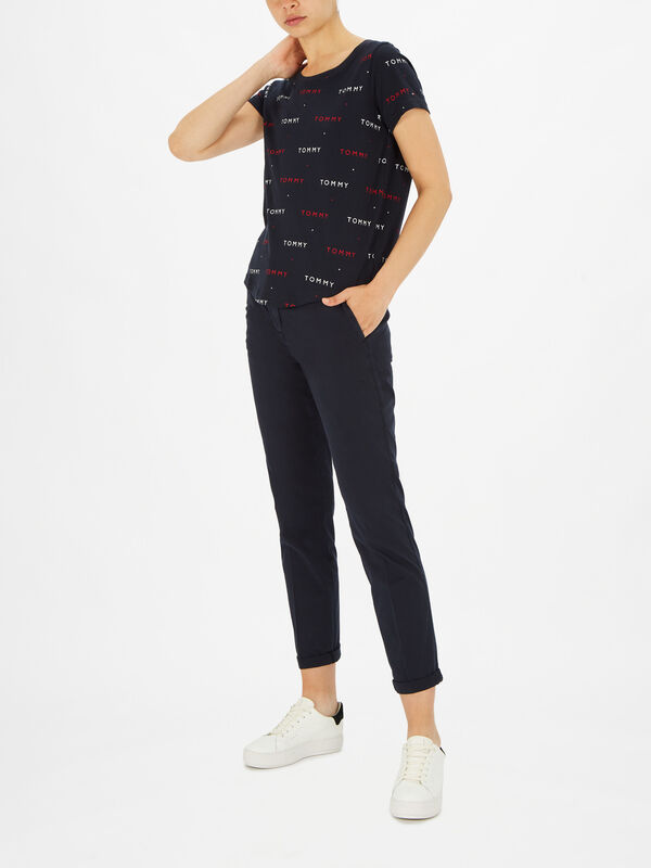 Tommy Embroidery Short Sleeve Tee Print