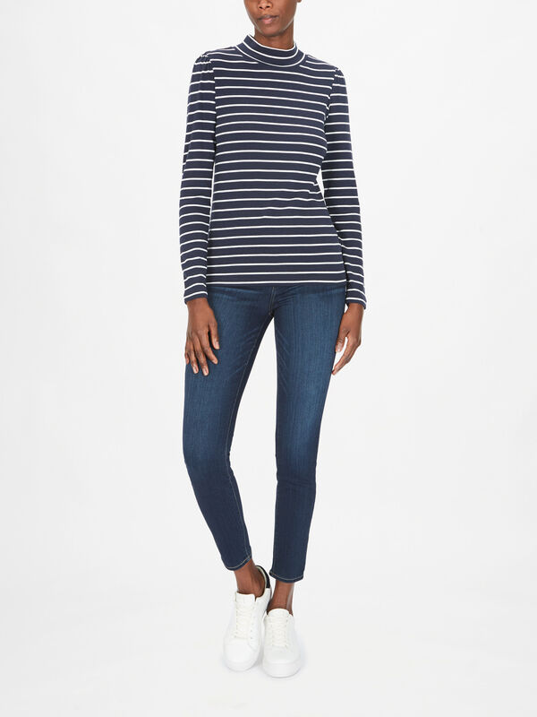 Striped Turtle Neck Puff Sleeve Top