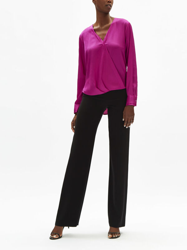 Long Sleeve Blouse with Twist Front