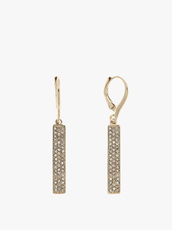 Gold Tone Micro Pave Crystal Pendant Bar Earrings