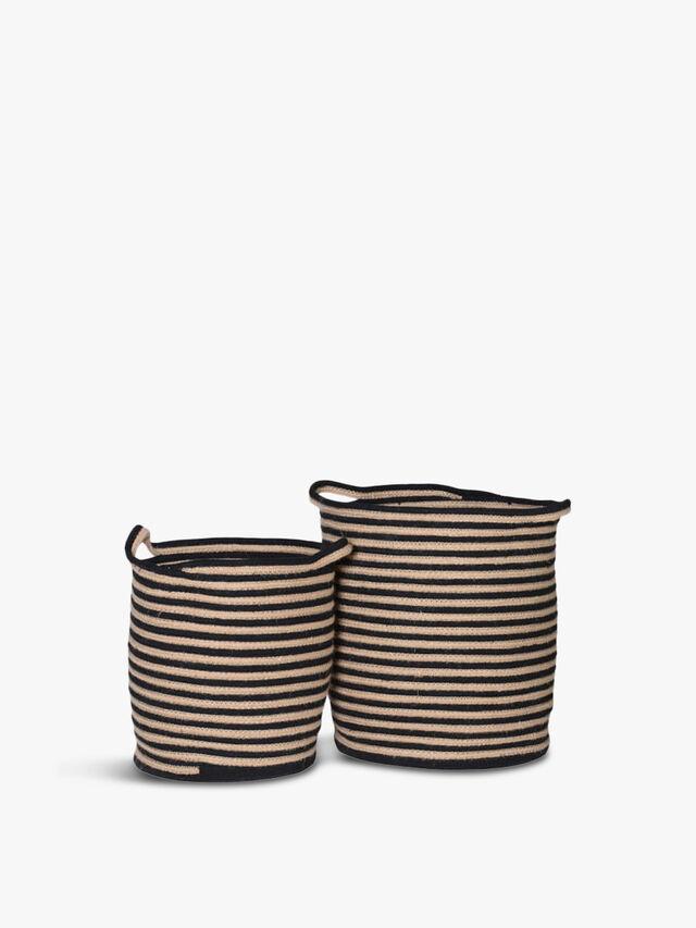 Set of Two Cotton Woven Stripe Baskets