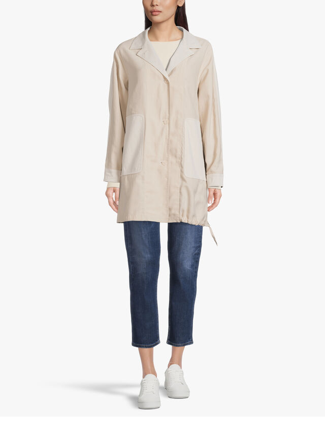 Tencel Gathered Hem Button Down Mid Length Jacket with Patch Pockets