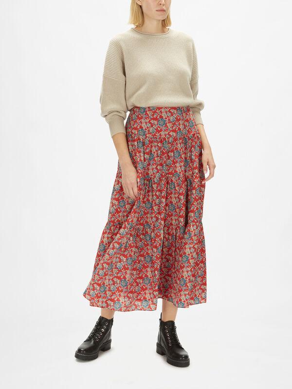 Pauldina Floral Print Midi Skirt