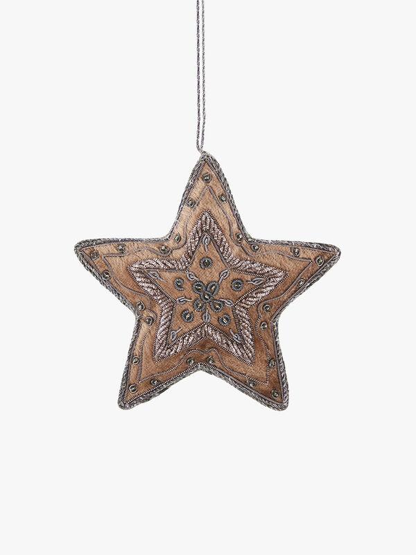 Taupe Velvet Antique Silver Star Decoration