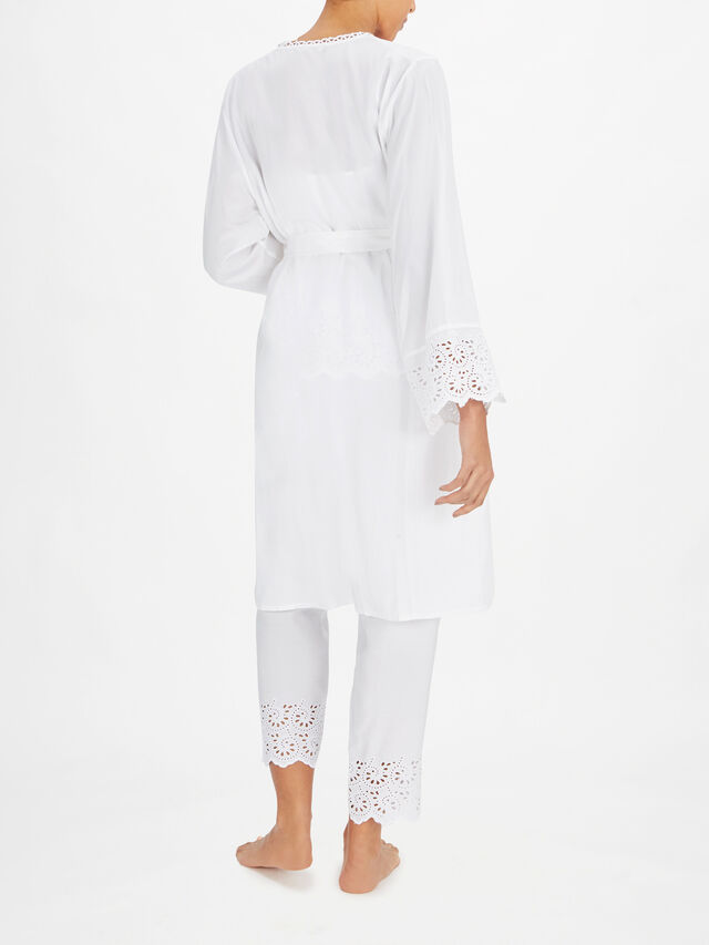 Leah White All Over Embroidery Short Wrap