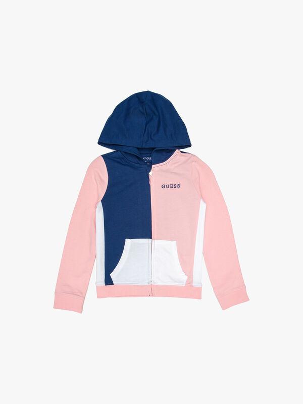 Colour Block Zip Up Hoodie