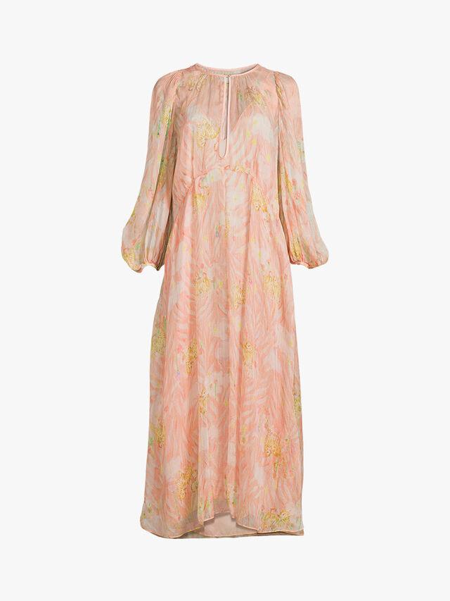 Printed Lurex Chiffon Silk Long Dress