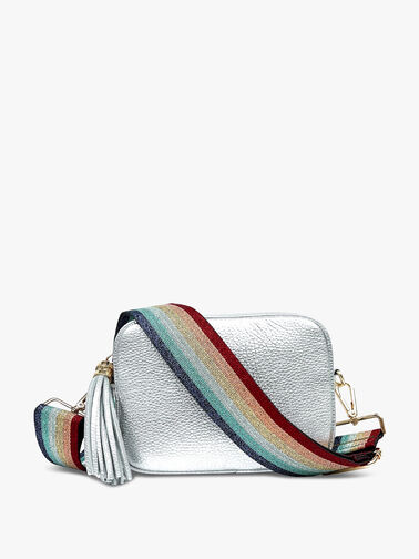 Silver Leather Bag with Rainbow Strap