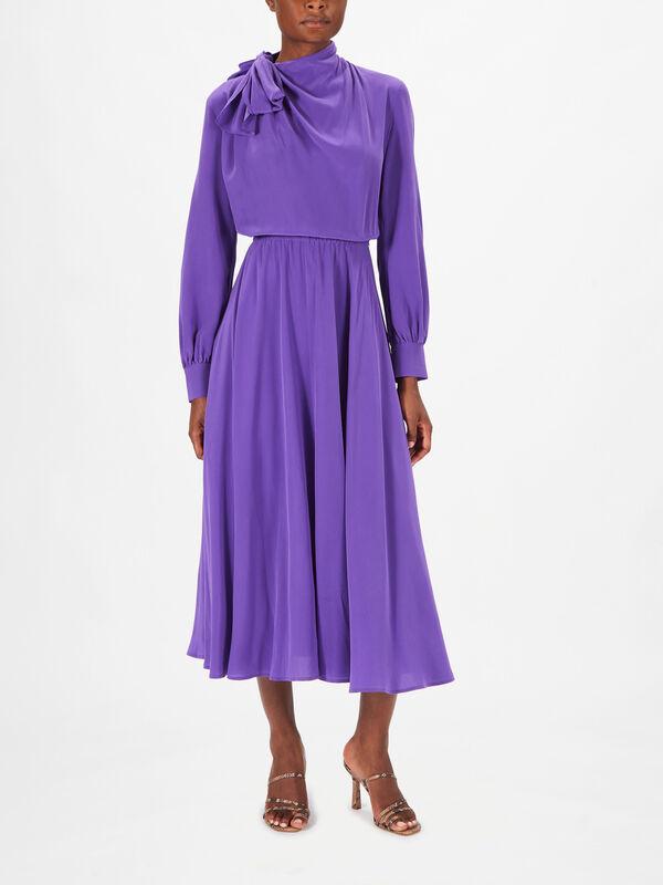 Deletta Tie Neck Midi Dress