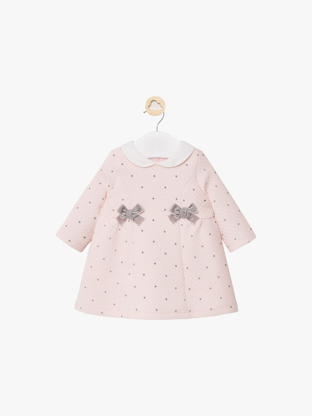 Quilted Spot Dress With Bows