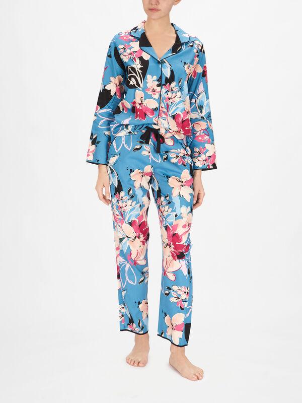 Hannah Turquoise Floral Print Pant