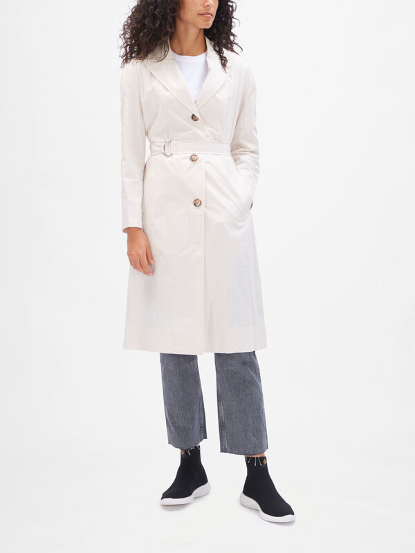 Open Collar Paper Cotton Trench Coat