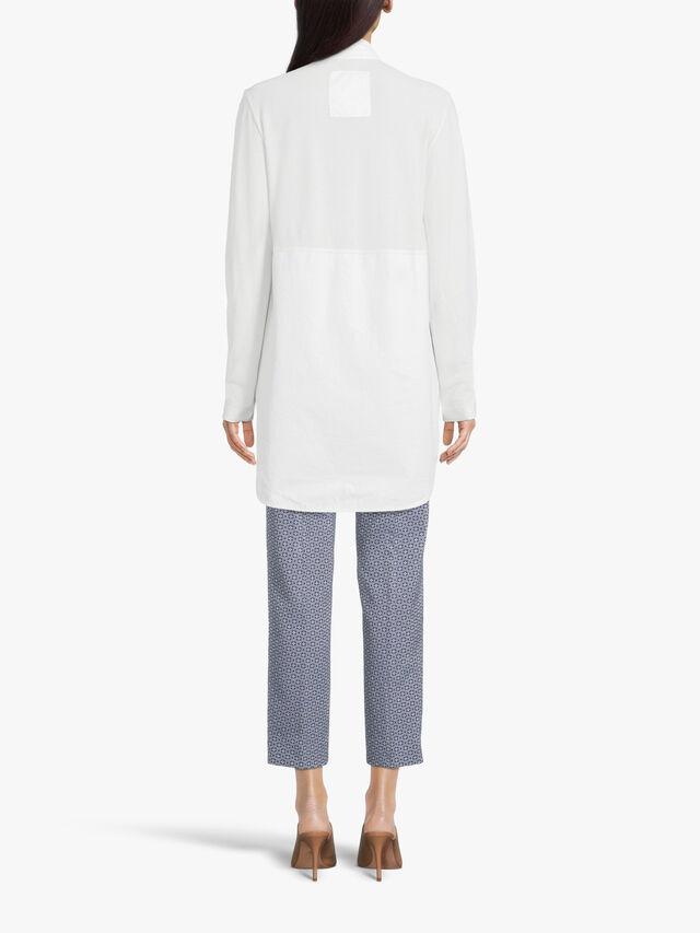 Long Sleeve Mandarin Collar Cotton Applique Shirt with Side Split Pockets