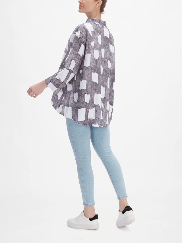 Abstract Shape Print Linen Jacket