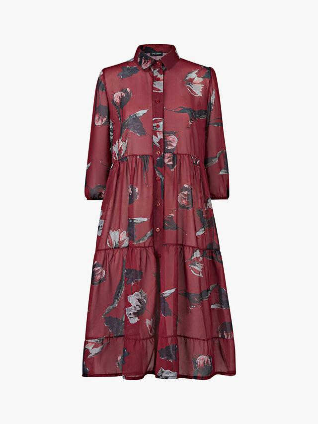 Tiered Print Shirt Dress
