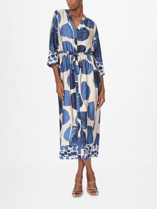 AOP 3/4 Sleeve Midi Dress With Tie Waist