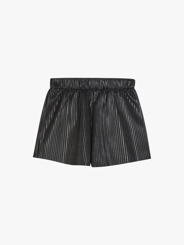 Pleated Faux Leather Shorts