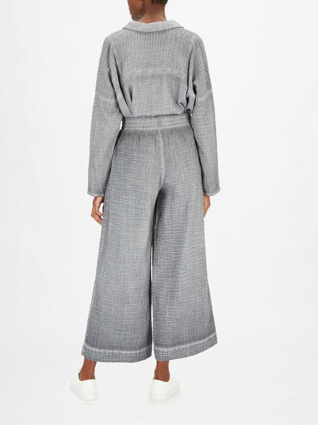 Woven Wide Leg Cotton Trouser