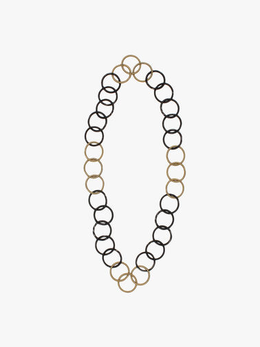 Rosalie Long Necklace wire links in silver & gold