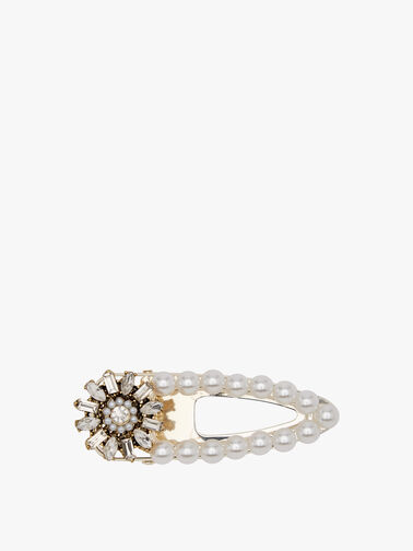 Pearl Flower Rhinestone Clamp (White)