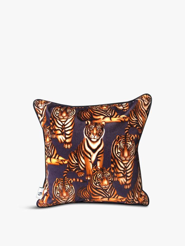 Velvet Front Tiger Tiger Cushion