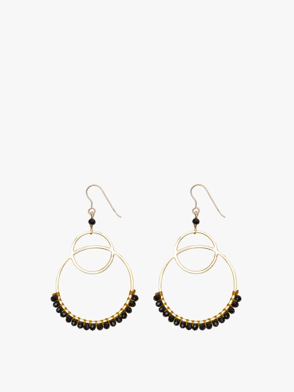 Chandelier Black Beaded Earrings