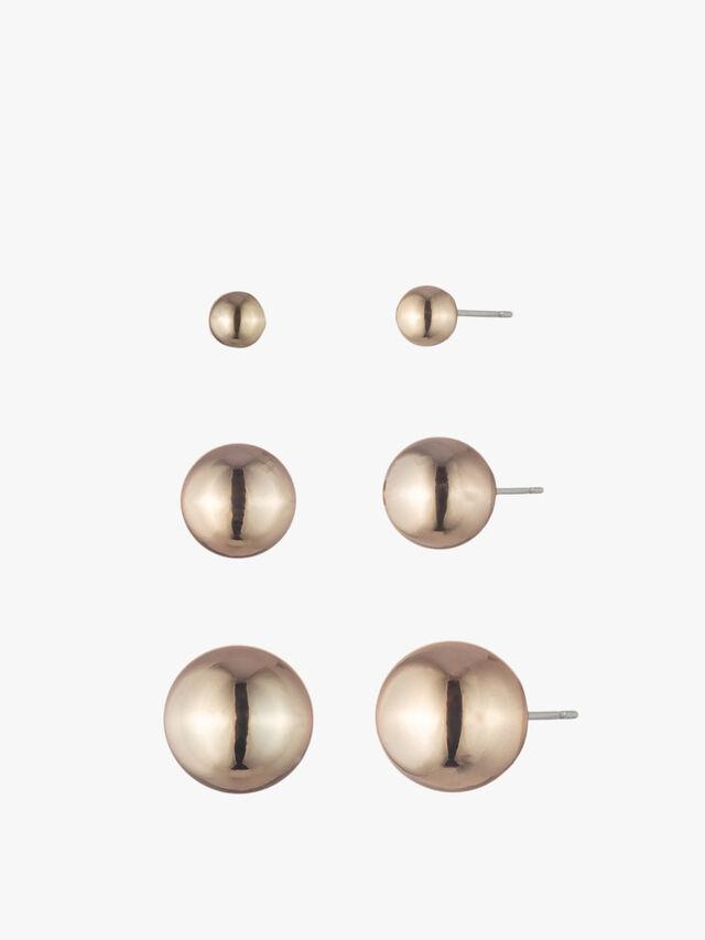Gold Tone Triple Stud Earrings Assortment