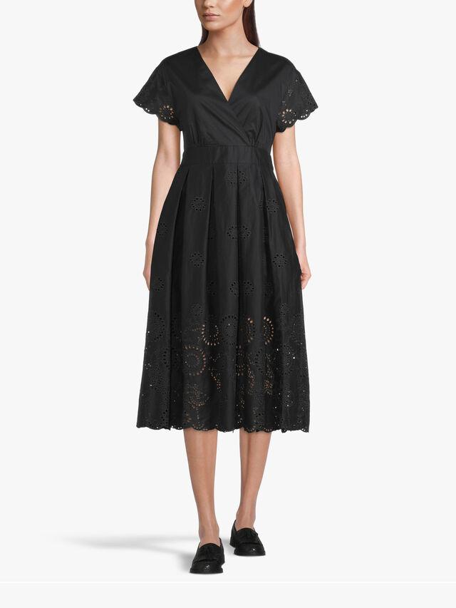 Ode V Neck Short Sleeve Laser Cut Midi Dress