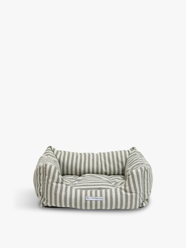 Flint Stripe Brushed Cotton Boxy Dog Bed Medium