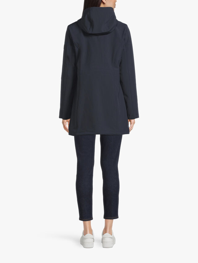 Hooded Softshell Coat With Gathered Waist