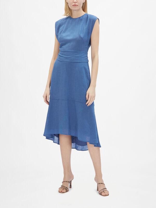 Round Neck Short Sleeve Belted Dress